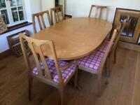 Classic Parker Knoll extending dining table and 6 chairs
