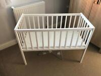 White Baby Crib with Mattress - Great Condition