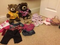 Build a bear and outfits; 2 bears and clothes selection.
