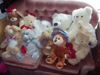 60 x teddys and soft toys