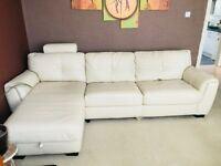 DFS 100% Leather Left Hand Facing Storage Sofa Bed with a Matching Armchair