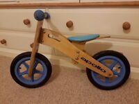 Childs Apollo wooden blue balance bike 12 inch wheel