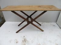 Victorian Trestle Table - Pine Frame - Oak Top - Antique
