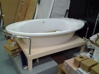 IDEAL STANDARD LARGE FREESTANDING BATH WITH STAND AND ALL CHROME OUTSIDE WAISTE PIPES