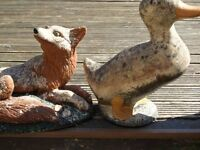 fox and duck ornaments.