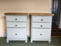 Shabby chic solid pine large bedside drawers