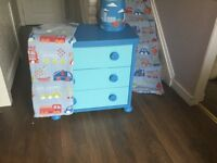 IKEA Mammut chest of drawers, curtains, lampshade & duvet