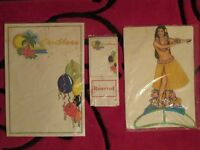 Decoration Package for Caribbean, Beach, Aloha, Wall Pictures (cut-outs) Garlands, Tissue, Hula Girl