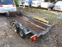 VERY RARE 8 X 4 (UNBRAKED) TWIN AXLE FLATBED TRAILER........