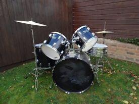 Thunder Drum Kit Set, Remo Toms, Camber C4000 Hi-Hat, Crash Ride, Stool, Vic Firth Sticks