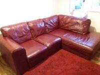 Red wine leather corner sofa