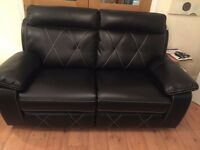 2 and 3 seater ELECTRIC/POWER leather effect recliner sofas in black - as New + 4 year warranty!!