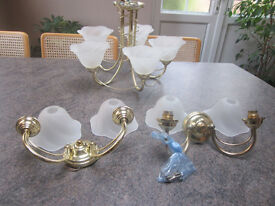 Brass ceiling and wall light set