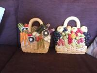 Pottery vegetables basket and a fruit basket