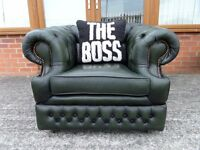 Stunning Chesterfield Green Leather Club Arm Chair Vintage Low Back UK Delivery