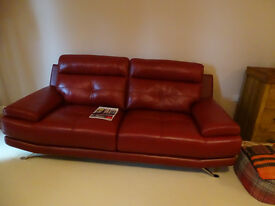 Genoa 3 seater leather sofa and matching chair (6 months old !!!)