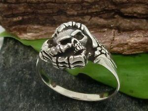 Calavera-Manos-de-esqueleto-Plata-Ley-925-Anillo-solo-tallas-grandes-75-77-78-79