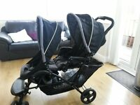 Graco black double puschair