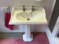 Beautiful White Heritage Bathroom Suite with Brass Fixtures & Fittings