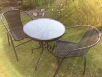 new bistro patio set & electric lawnmower & plastic shelving