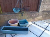 3 Garden Tubs plus 3 Hanging baskets £5 for 6 items