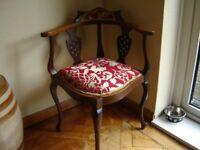 Victorian mahogany corner chair