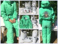 Girls Skiing suit, salopettes with gloves and ski boots. Moving Oversees - Everything must GO
