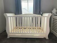 Baby sleigh cot bed, dresser and toy box