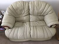Free cream leather sofa and chair