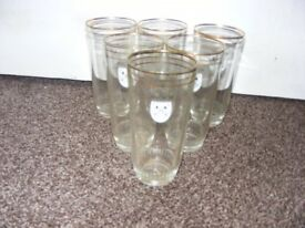 Set Of 6 Vintage Anchor Beer Tumbler Glasses.