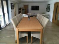 Oak Dining Dining Table + 8 Leather Chairs