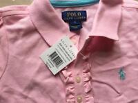 Ralph Lauren light pink ruffle polo shirt (age 4-5)