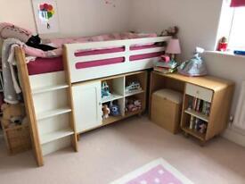 Feather & Black Cabin Bed w Shelf Unit & Desk
