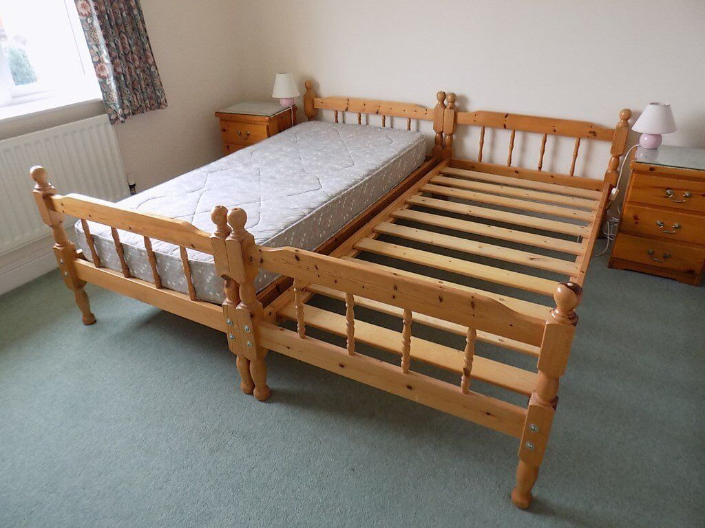 Pair of single 3' pine slatted beds (were bunks) with mattresses
