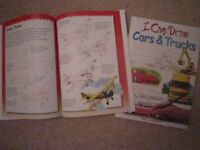 I CAN DRAW - 2 NEW BOOKS WITH STEP BY STEP GUIDE TO DRAWING CARS & FLYING MACHINES...and more
