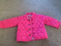 Joules, pink quilted jacket, 12-18mths