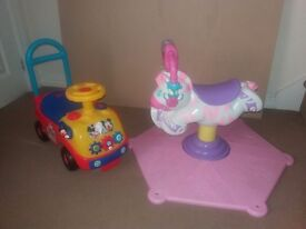 Mickey Push Along and Pink Bounce and Spin Zebra