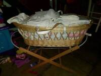 Mosses basket with stand. 2× mobiles. Assortment of blankets and sheets