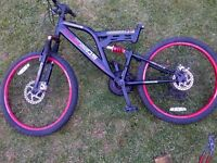 Dunlop 17'' all suspension mountain bike with disc brakes for spares or repair