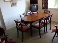 For sale - 1 table (137 cm (173 with extension) by 80 cm) and six chairs, all varnished wood.