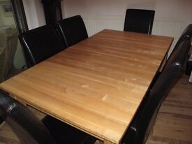 Solid ash extending dinning table and 6 chairs