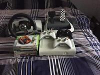 Xbox 360 bundle with games 3 controllers and steering wheel