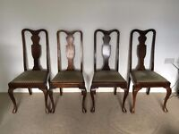 4 X MAHOGANY DINING CHAIRS WITH UPHOLSTERED SEATS - 1930's ERA. STRONG AND WELL MADE