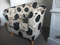 Professionally upholstered tub chair v good condition