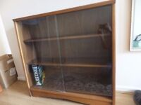 Display cabinet/bookcase with glass sliding doors - solid wood