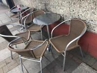 Closing down sale - Brown rattan 4chairs & alu Table & bistro set - 4 sets available @£40 each set