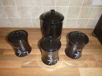 Kitchen Tea, Coffee, Sugar, Biscuit Barrell Set