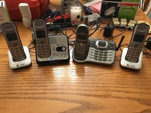 4 Cordless Phones w/ 2 Answering Machine Bases