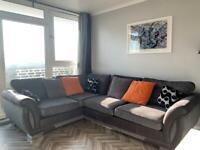 DFS used Charcoal/Black RH 3 seater corner sofa (formal back)