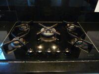 John Lewis 5-burner black glass gas hob